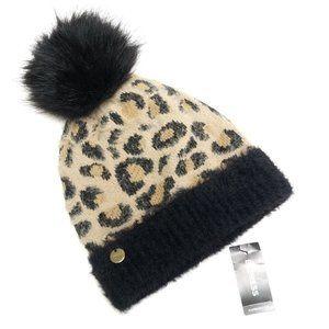 New Express Leopard Pom Beanie Hat